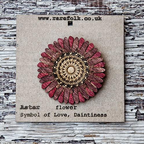Aster flower, laser cut wood brooch - Burgandy red
