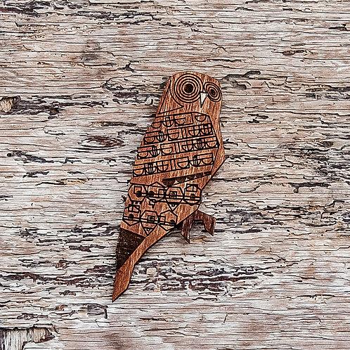 Autumnal Owl brooch, laser cut.
