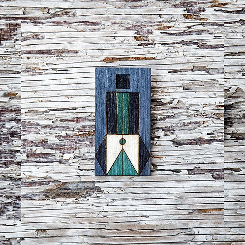 Geo design brooch, laser cut jewellery - Blue