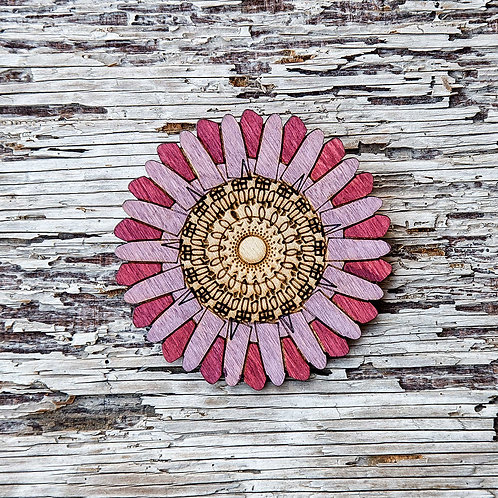 Aster flower, laser cut wooden brooch- Pink
