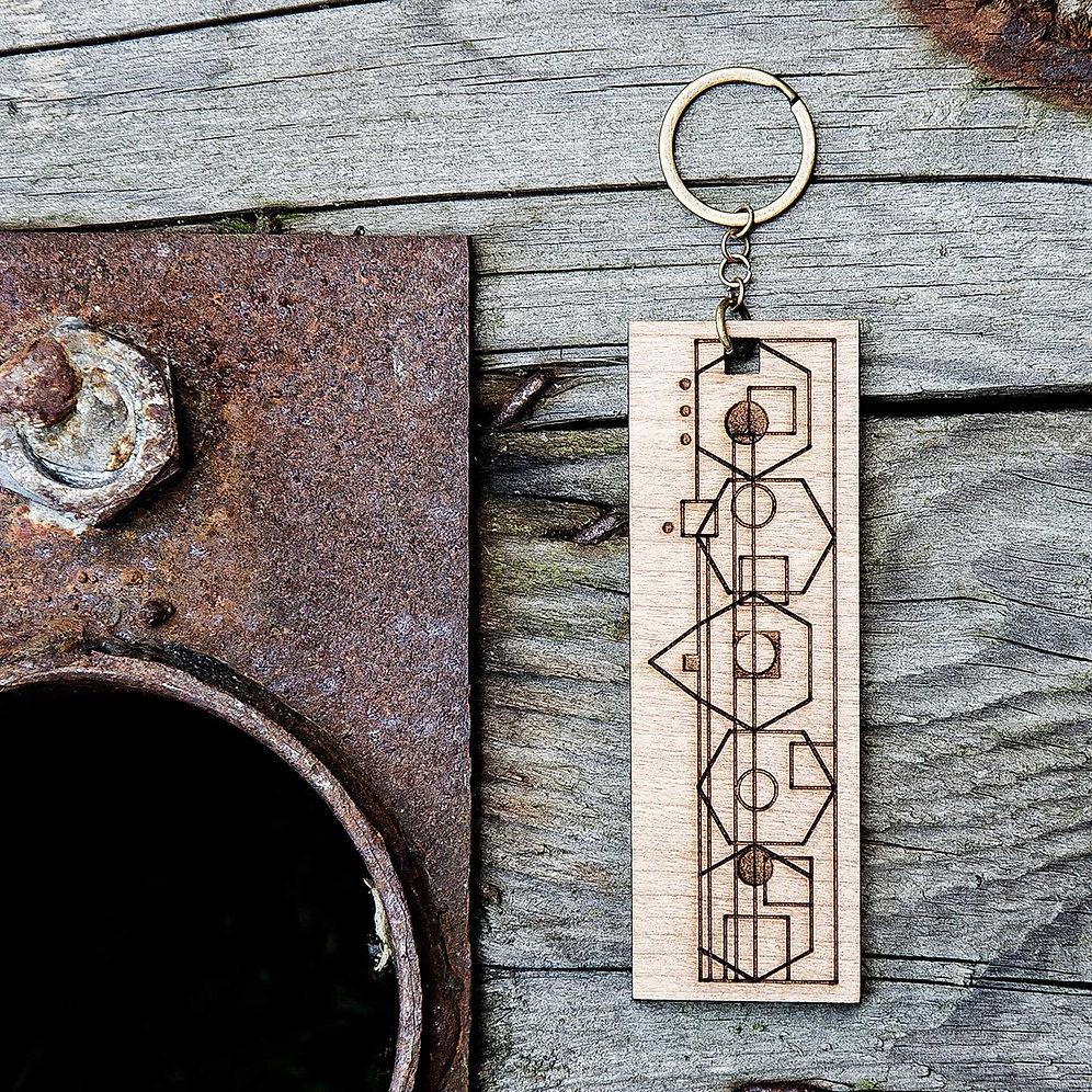 Geo Wooden Keyring Laser Cut Rare Folk