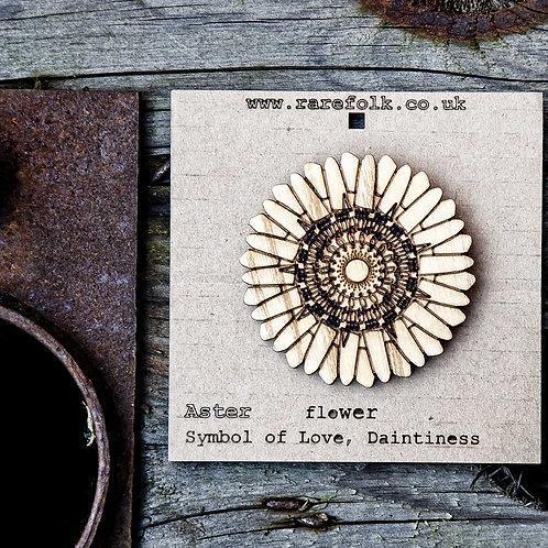 Aster flower, laser cut, ash wooden brooch