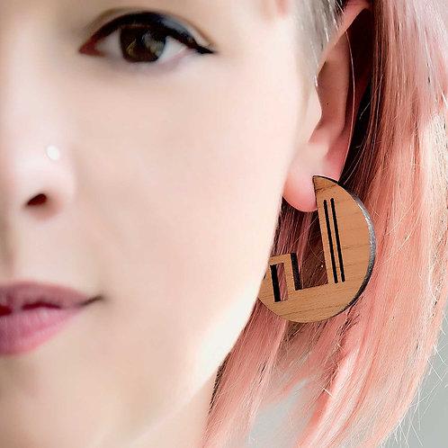Geometric hoop earrings, laser cut jewellery.