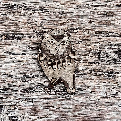 Curious Owl brooch, laser cut.
