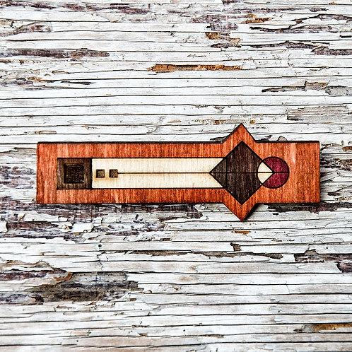 Geo, rectangle brooch, wooden jewellery - Orange