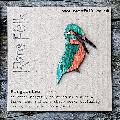 Kingfisher bird brooch, laser cut.