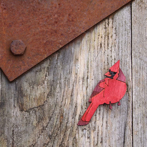 Bird brooch, Cardinol, laser cut jewellery.