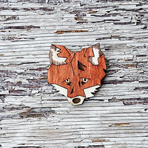 Laser cut Fox brooch, wooden jewellery.