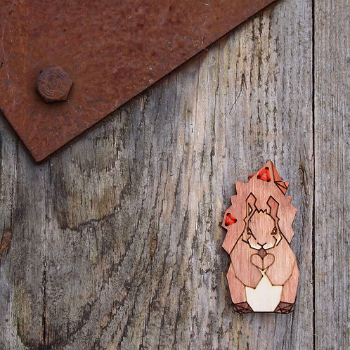 Squirrel, wildlife, laser cut, wooden brooch