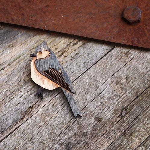 Titmouse bird brooch, wooden jewekkery.