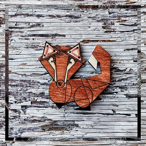 Russell, fox brooch, wooden, laser cut jewellery.