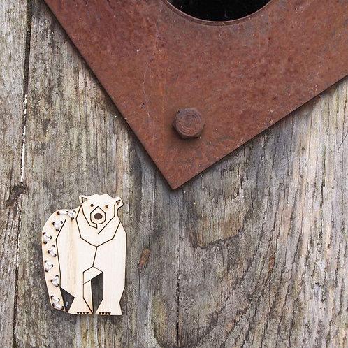 Polar bear, winter wildlife brooch.