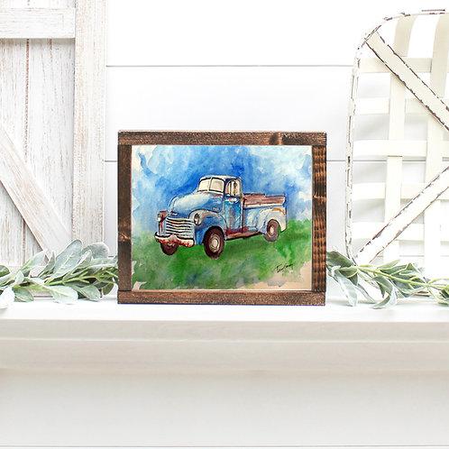 Old Blue Classic Truck - Reproduced Print of Original Art ($4-$18)