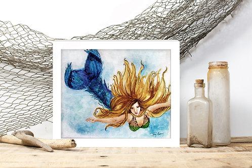 Madison Mermaid - Reproduced Print of Original Art ($8-$18)