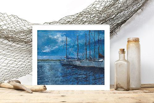 Nightfall in the Southport Marina -Reproduced Art Print of Original Art ($4-$8)