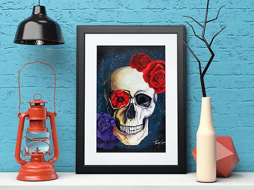 Flowers and Skull Galaxy - Reproduced Print of Original Art ($8-$18)