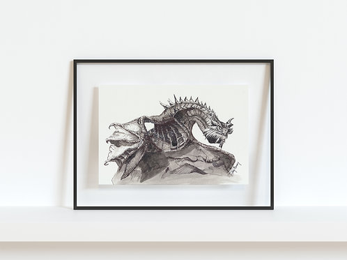 Paarthurnax from Skyrim - Reproduced Print of Original Art ($8-$18)