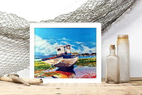 The Old Fishing Boat - Reproduced Print of Original Art ($8-$18)