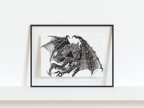 Alduin from Skyrim - Reproduced Print of Original Art ($8-$18)