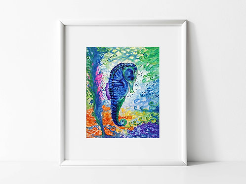 Just a Little Blue Seahorse - Reproduced Print of Original Art ($8-$18)