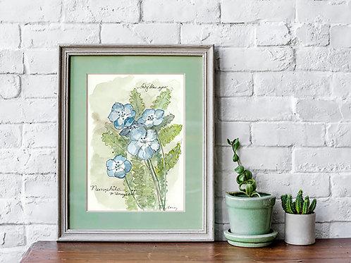 Baby Blue Eyes Print - Reproduced Print of Original Art ($8-$18)