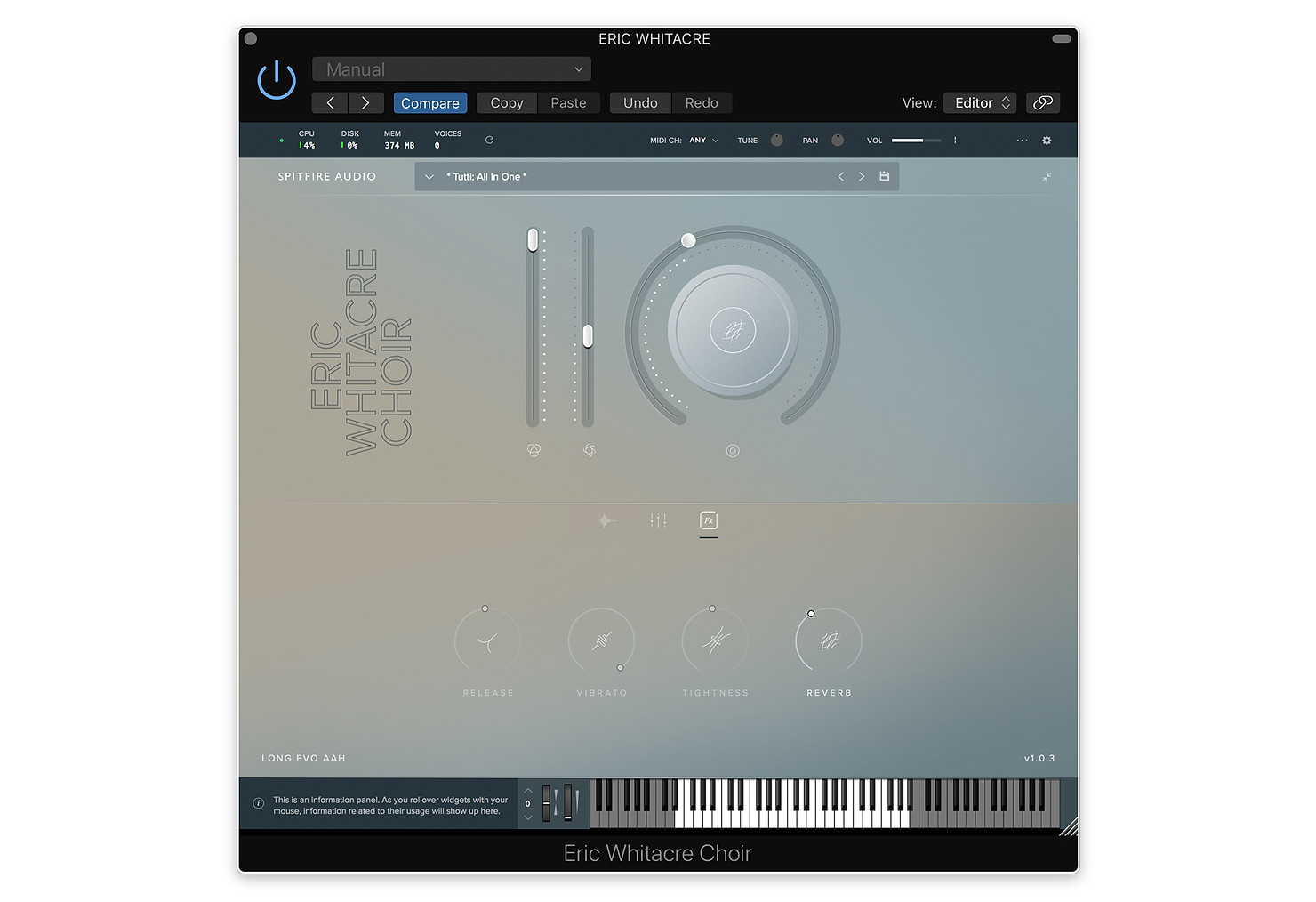 Eric Whitacre Choir GUI by Spitfire Audio
