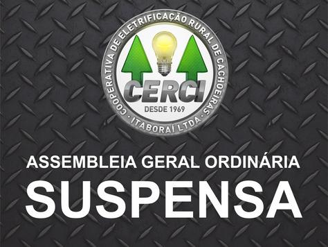 Nova nota de suspensão da Assembléia Geral Ordinária, com novo edital de convocação