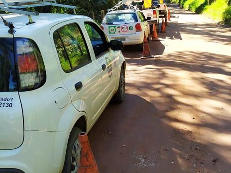 Mais uma ação na rede de distribuição no Guapiaçu.