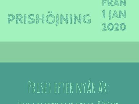 Prishöjning från 1 januari 2020