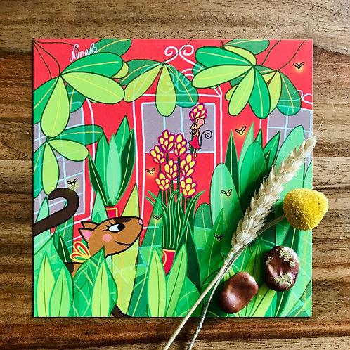 """Carte """"Jeux dans le patio, Suzette"""""""