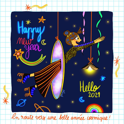"Carte ""Hello 2021"" Tirage limité"