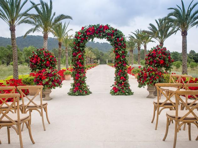 Wedding arch for destination wedding in Mallorca