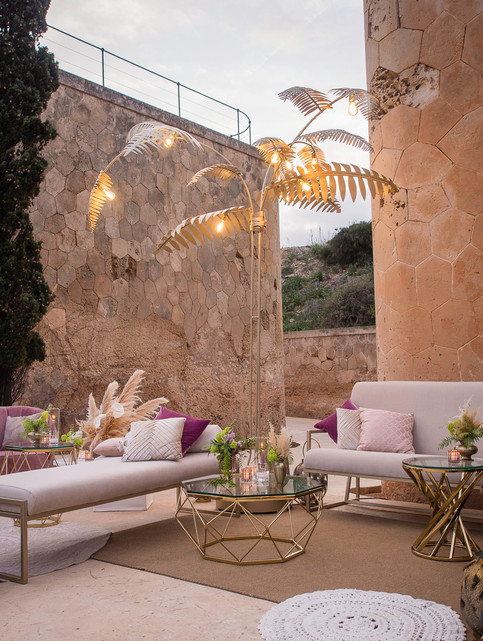 Lounge area and palm tree lamp