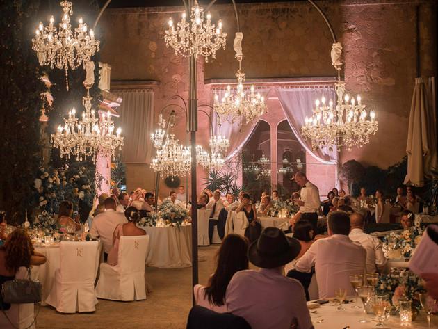 Wedding Mallorca illumination with chandeliers