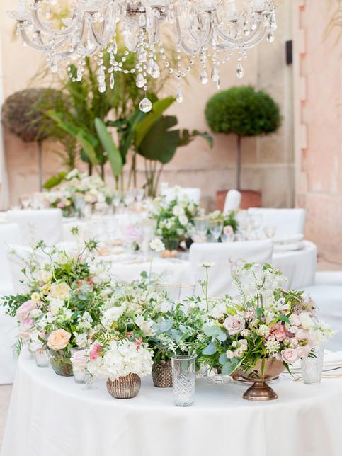 Decoraciones para la mesa de boda Cap Rocat