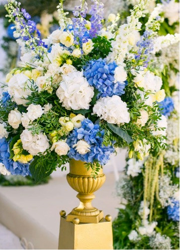 Wedding detail with blue flowers