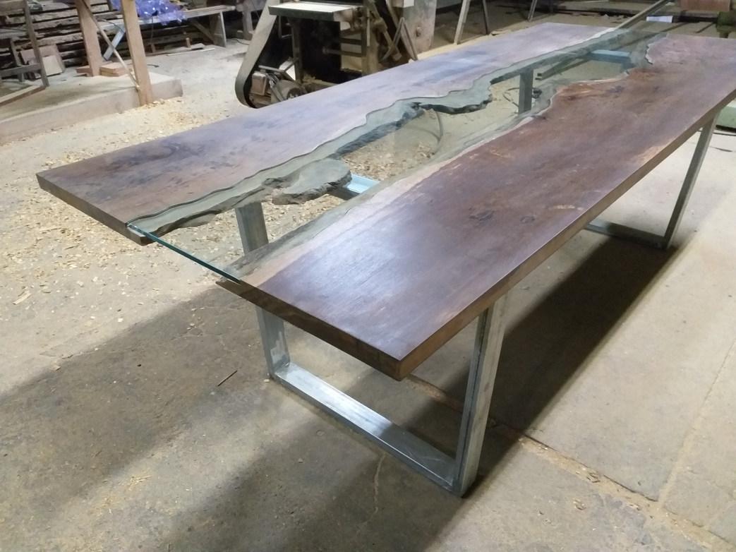 Mesa de Jantar com vidro estilo river