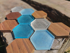 Blue scale - Hexagon Woodn Water
