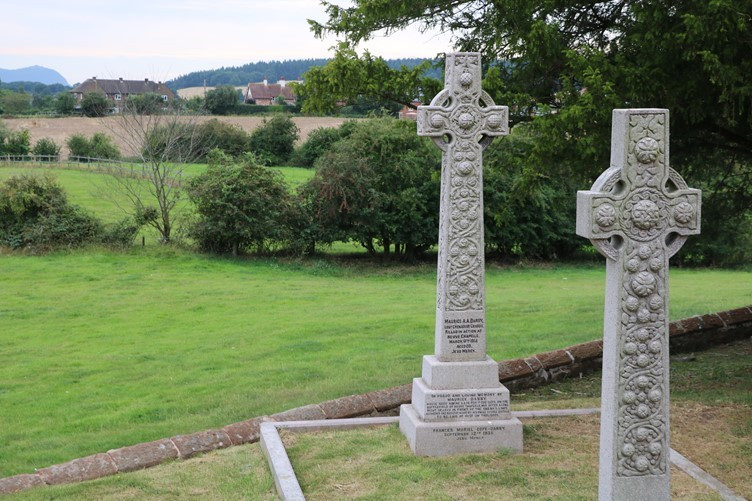 Maurice Darby's Grave overlooking the Shropshire countryside