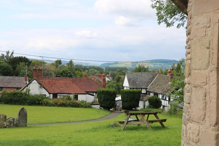 The 'Black and White' village of Pembridge and the countryside beyond