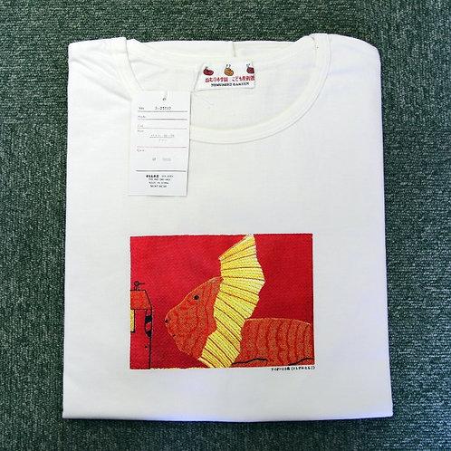 Tシャツ(長袖) 小ホワイト/ライオンと小鳥