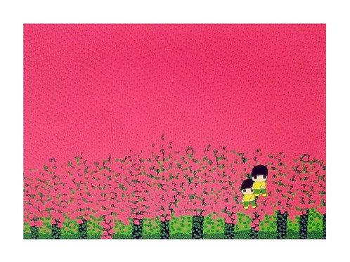 シルクスクリーン 花の中で