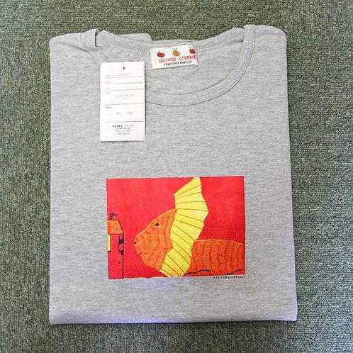 Tシャツ(長袖) 大グレー/フリーサイズ:ライオンと小鳥