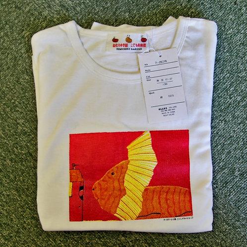 Tシャツ(長袖) 大ホワイト/フリーサイズ:ライオンと小鳥
