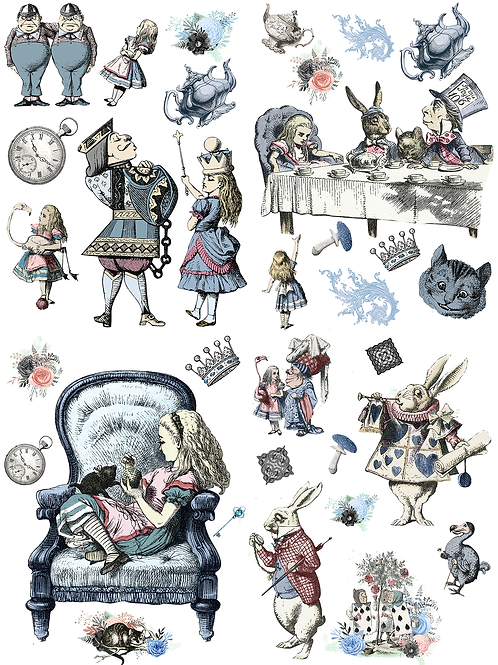 Alice in Wonderland decoupage papers