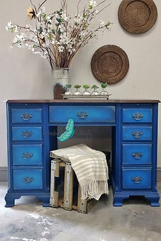 cobalt blue painted desk Dixie Belle Pai