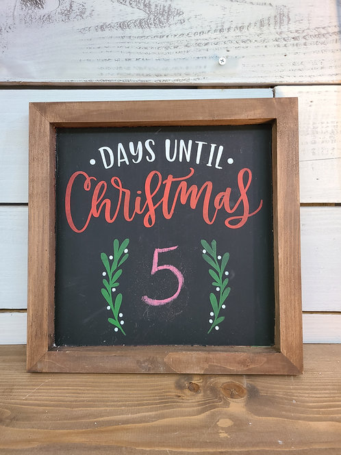 Days until Christmas Chalk Sign