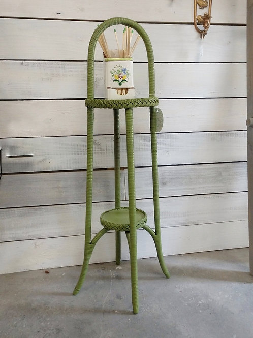 Green Wicker Plant Stand