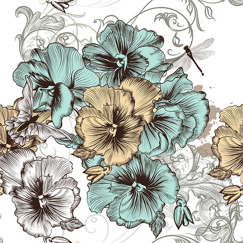 Blue and yellow floral decoupage paper