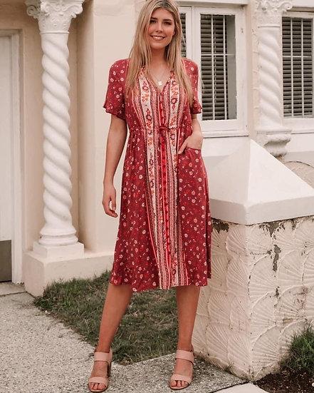 Elliot V-Neck Midi Dress!